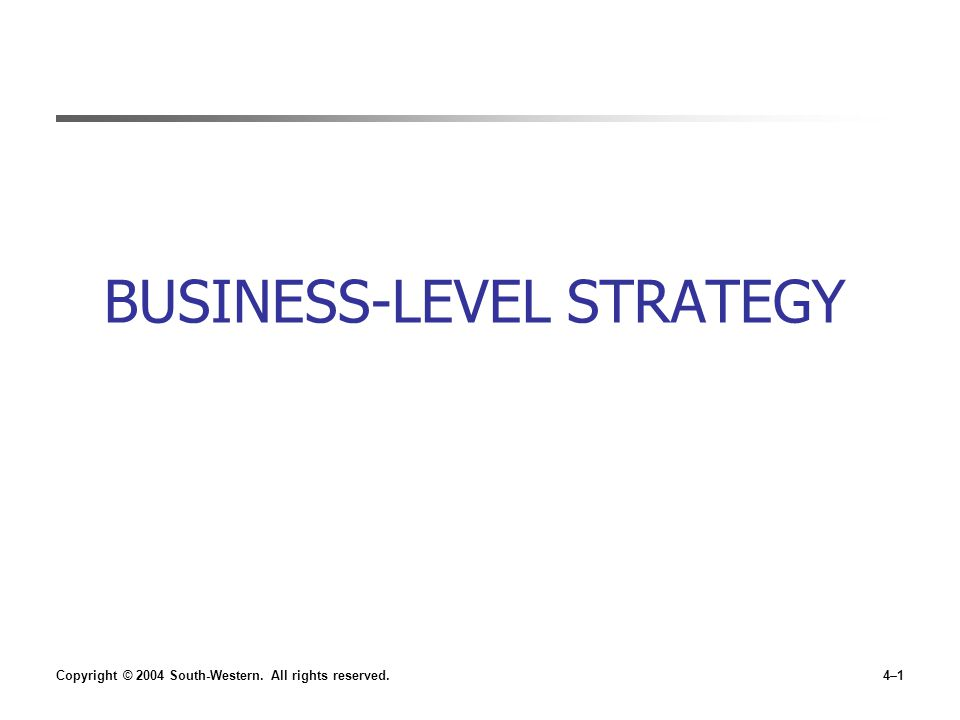 Copyright © 2004 South-Western. All rights reserved.4–1 BUSINESS-LEVEL STRATEGY