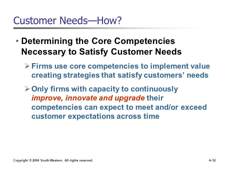 Copyright © 2004 South-Western. All rights reserved.4–12 Customer Needs—How? Determining the Core Competencies Necessary to Satisfy Customer Needs  F