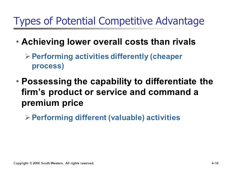 Copyright © 2004 South-Western. All rights reserved.4–14 Types of Potential Competitive Advantage Achieving lower overall costs than rivals  Performi