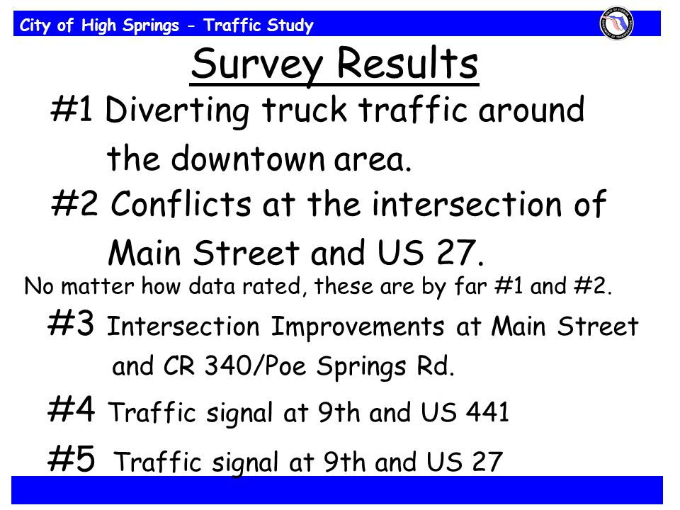 City of High Springs - Traffic Study Survey Results #1 Diverting truck traffic around the downtown area.