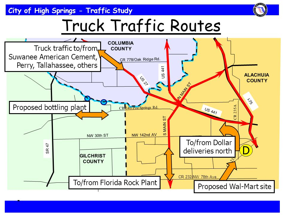 City of High Springs - Traffic Study CR 235 CR 232/NW 78th Ave. NW 30th ST NW 142nd AV CR 778/Oak Ridge Rd. CR 340/Poe Springs Rd. COLUMBIA COUNTY S M