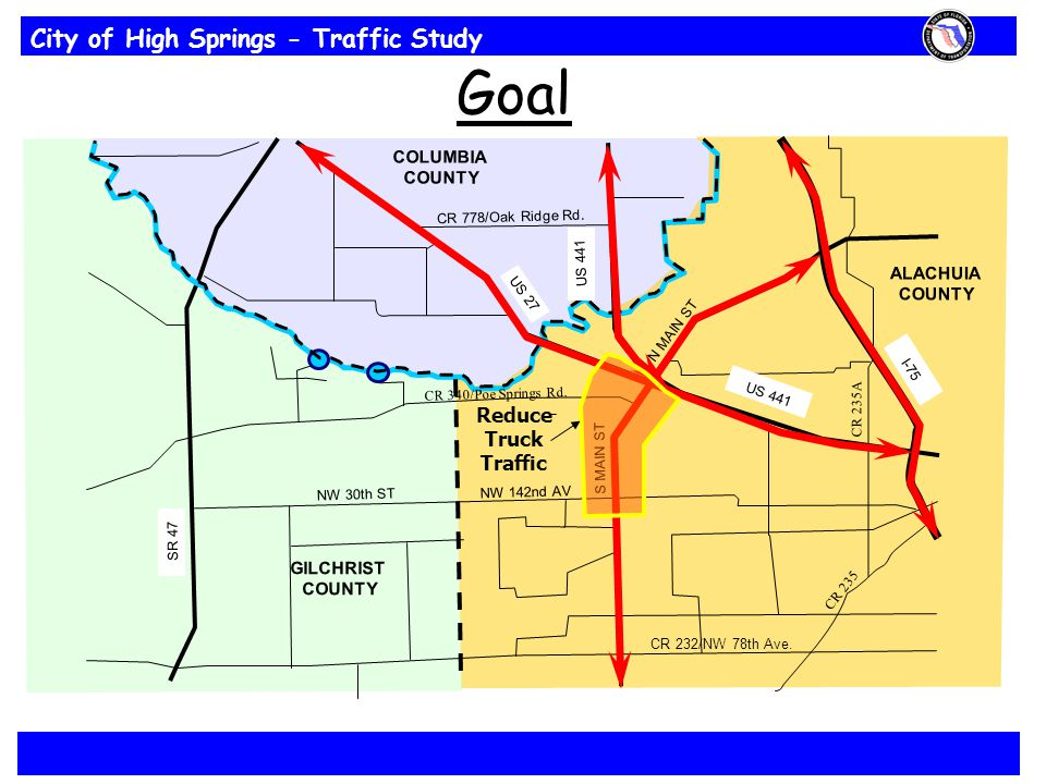 City of High Springs - Traffic Study CR 778/Oak Ridge Rd. CR 232/NW 78th Ave. NW 30th ST NW 142nd AV CR 340/Poe Springs Rd. COLUMBIA COUNTY S MAIN ST