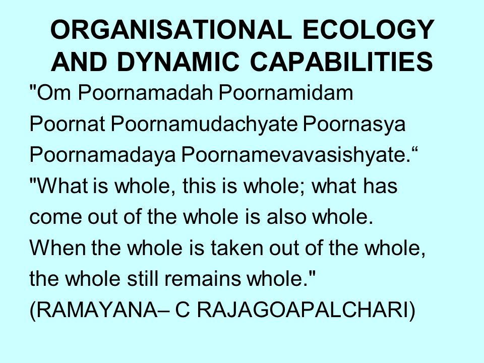 ORGANISATIONAL ECOLOGY AND DYNAMIC CAPABILITIES