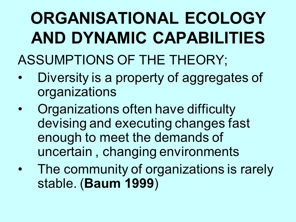 ORGANISATIONAL ECOLOGY AND DYNAMIC CAPABILITIES ASSUMPTIONS OF THE THEORY; Diversity is a property of aggregates of organizations Organizations often have difficulty devising and executing changes fast enough to meet the demands of uncertain, changing environments The community of organizations is rarely stable.