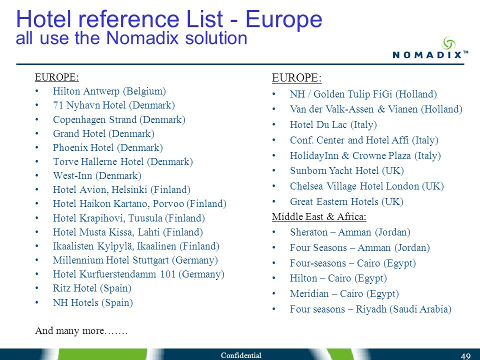 Confidential 49 Hotel reference List - Europe all use the Nomadix solution EUROPE: Hilton Antwerp (Belgium) 71 Nyhavn Hotel (Denmark) Copenhagen Strand (Denmark) Grand Hotel (Denmark) Phoenix Hotel (Denmark) Torve Hallerne Hotel (Denmark) West-Inn (Denmark) Hotel Avion, Helsinki (Finland) Hotel Haikon Kartano, Porvoo (Finland) Hotel Krapihovi, Tuusula (Finland) Hotel Musta Kissa, Lahti (Finland) Ikaalisten Kylpylä, Ikaalinen (Finland) Millennium Hotel Stuttgart (Germany) Hotel Kurfuerstendamm 101 (Germany) Ritz Hotel (Spain) NH Hotels (Spain) And many more…….