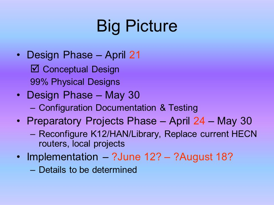 Big Picture Design Phase – April 21  Conceptual Design 99% Physical Designs Design Phase – May 30 –Configuration Documentation & Testing Preparatory Projects Phase – April 24 – May 30 –Reconfigure K12/HAN/Library, Replace current HECN routers, local projects Implementation – June 12.