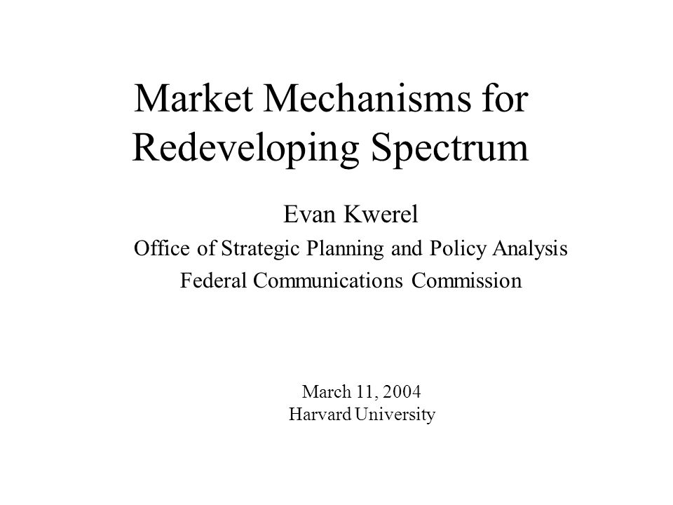 Evan Kwerel WP_38_Presentation.3.11.04 22 MDS/ITFS Exchange Proposal Give incumbents new spectrum rights as defined in coalition proposal Hold a simultaneous spectrum exchange for white space and the new rights held by incumbents Nobody moves until after the exchange closes