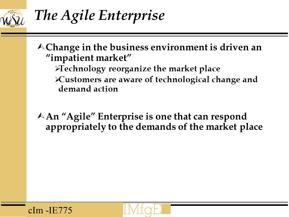 cIm -IE775 The Agile Enterprise  Change in the business environment is driven an impatient market  Technology reorganize the market place  Customers are aware of technological change and demand action  An Agile Enterprise is one that can respond appropriately to the demands of the market place