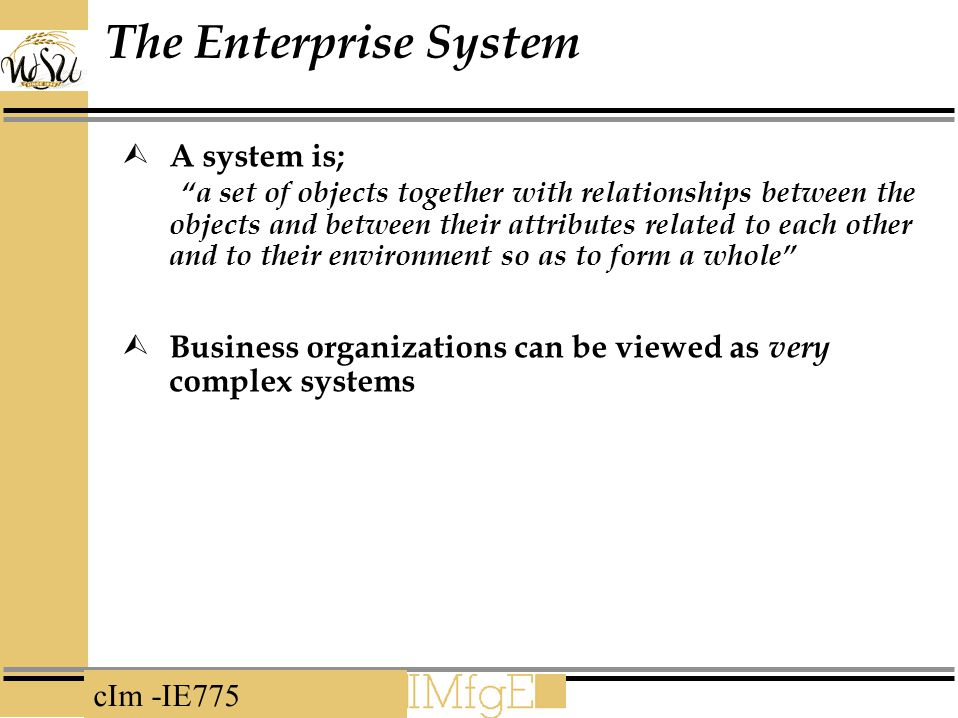 cIm -IE775 The Enterprise System  A system is; a set of objects together with relationships between the objects and between their attributes related to each other and to their environment so as to form a whole  Business organizations can be viewed as very complex systems