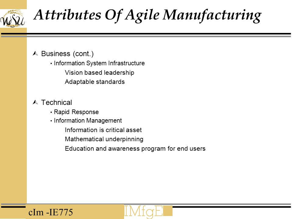 cIm -IE775 Attributes Of Agile Manufacturing  Business (cont.) Information System Infrastructure Vision based leadership Adaptable standards  Techni