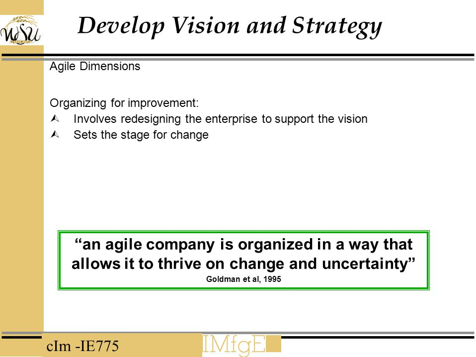 cIm -IE775 Develop Vision and Strategy Agile Dimensions Organizing for improvement:  Involves redesigning the enterprise to support the vision  Sets the stage for change an agile company is organized in a way that allows it to thrive on change and uncertainty Goldman et al, 1995