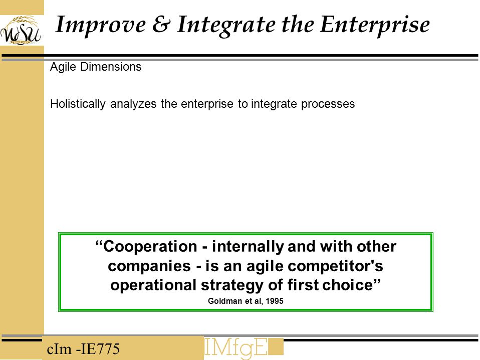 cIm -IE775 Improve & Integrate the Enterprise Agile Dimensions Holistically analyzes the enterprise to integrate processes Cooperation - internally and with other companies - is an agile competitor s operational strategy of first choice Goldman et al, 1995