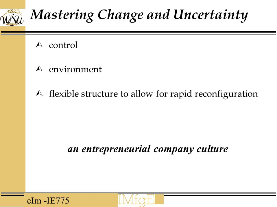 cIm -IE775 Mastering Change and Uncertainty  control  environment  flexible structure to allow for rapid reconfiguration an entrepreneurial company culture