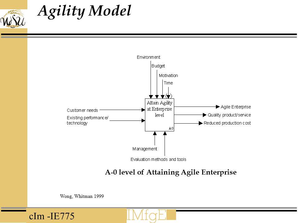 cIm -IE775 Agility Model A-0 level of Attaining Agile Enterprise Wong, Whitman 1999