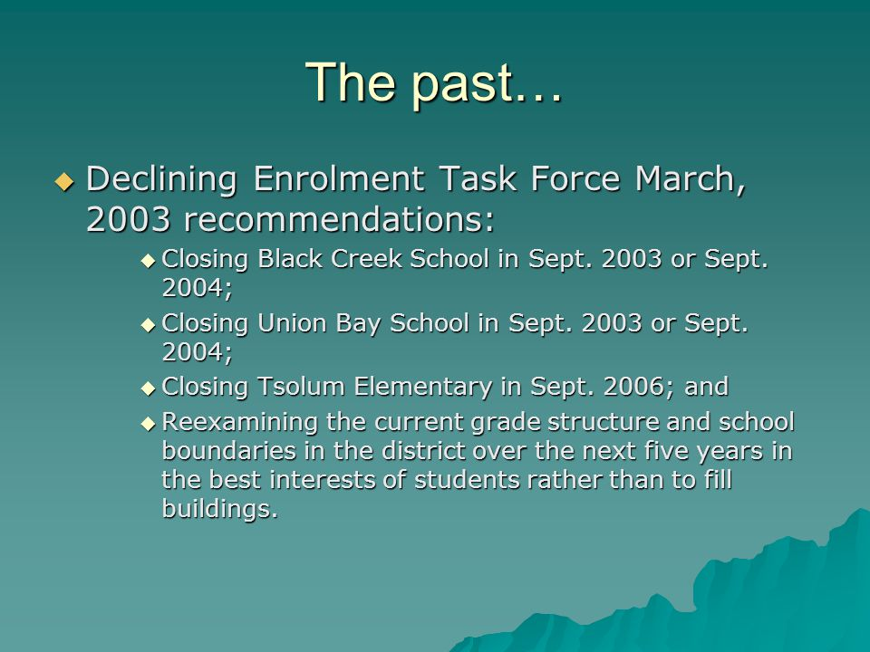 The past…  Declining Enrolment Task Force March, 2003 recommendations:  Closing Black Creek School in Sept.