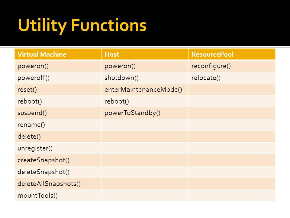 Utility Functions Virtual MachineHostResourcePool poweron() reconfigure() poweroff()shutdown()relocate() reset()enterMaintenanceMode() reboot() suspend()powerToStandby() rename() delete() unregister() createSnapshot() deleteSnapshot() deleteAllSnapshots() mountTools()