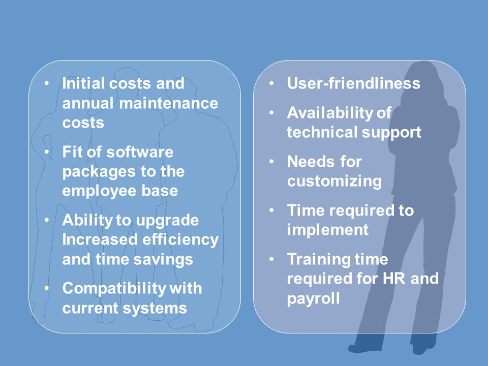Initial costs and annual maintenance costs Fit of software packages to the employee base Ability to upgrade Increased efficiency and time savings Compatibility with current systems User-friendliness Availability of technical support Needs for customizing Time required to implement Training time required for HR and payroll