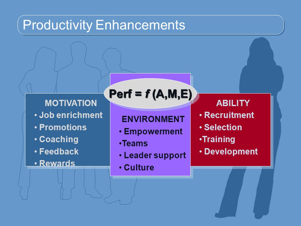Productivity Enhancements MOTIVATION Job enrichment Promotions Coaching Feedback Rewards MOTIVATION Job enrichment Promotions Coaching Feedback Rewards ENVIRONMENT Empowerment Teams Leader support Culture ENVIRONMENT Empowerment Teams Leader support Culture ABILITY Recruitment Selection Training Development ABILITY Recruitment Selection Training Development Perf = f (A,M,E)