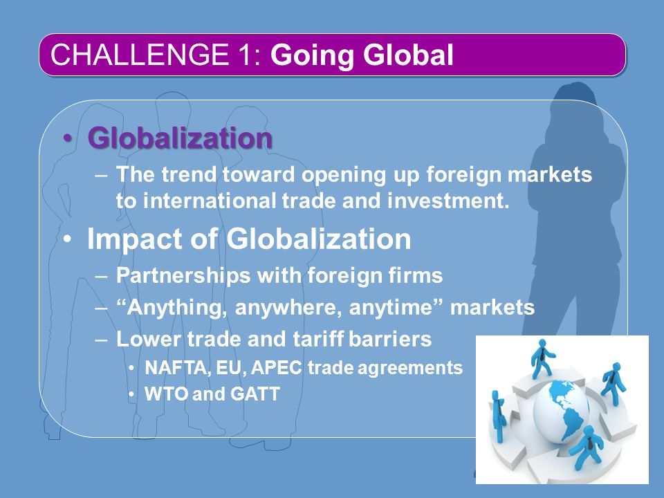 CHALLENGE 1: Going Global GlobalizationGlobalization –The trend toward opening up foreign markets to international trade and investment.