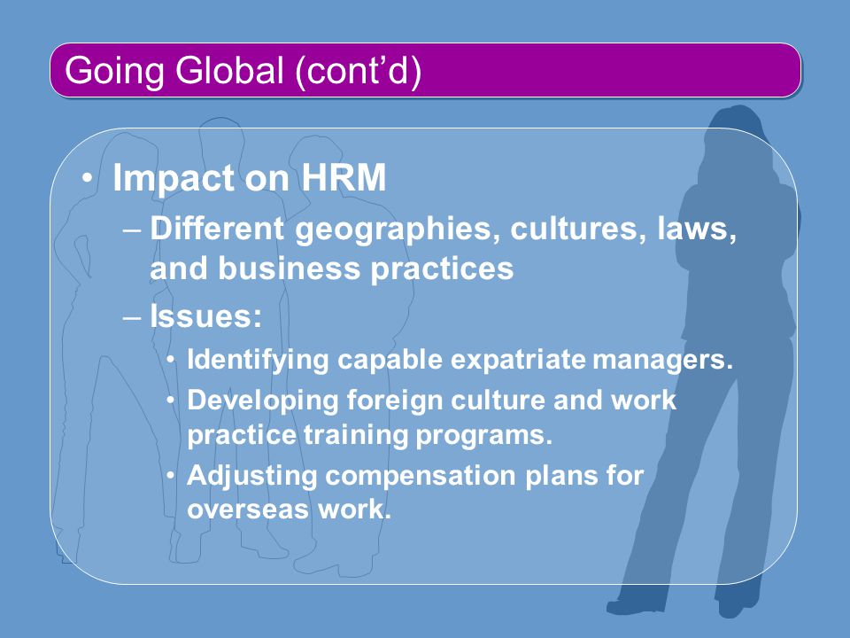 Going Global (cont'd) Impact on HRM –Different geographies, cultures, laws, and business practices –Issues: Identifying capable expatriate managers.