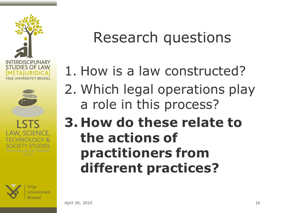 Research questions 1.How is a law constructed.