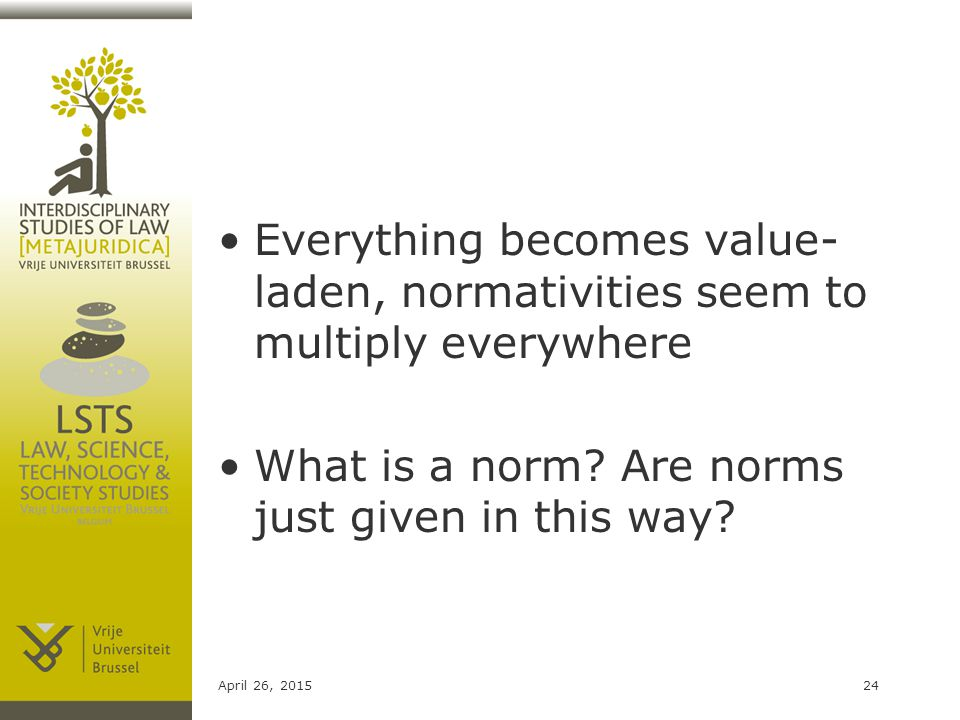 Everything becomes value- laden, normativities seem to multiply everywhere What is a norm.