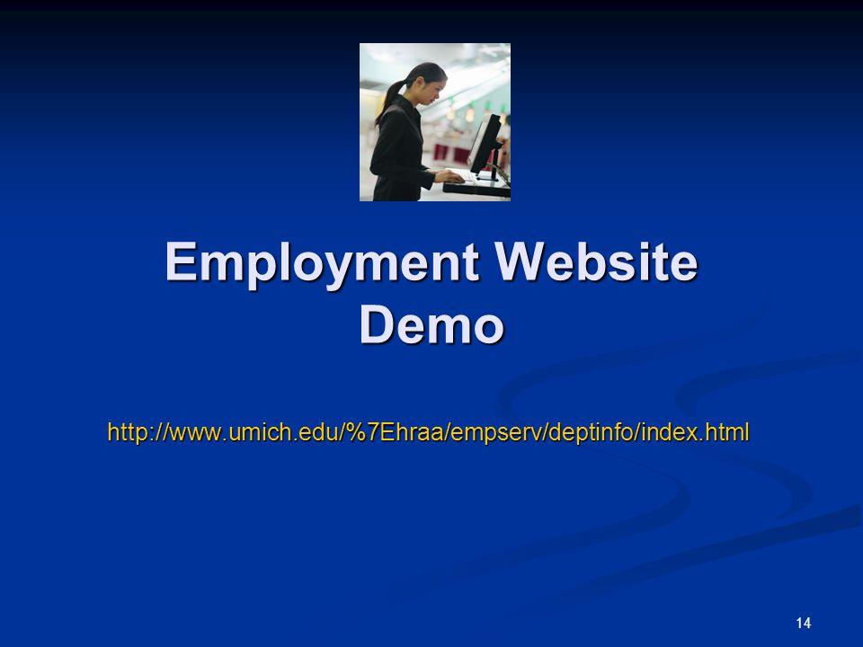 14 Employment Website Demo http://www.umich.edu/%7Ehraa/empserv/deptinfo/index.html