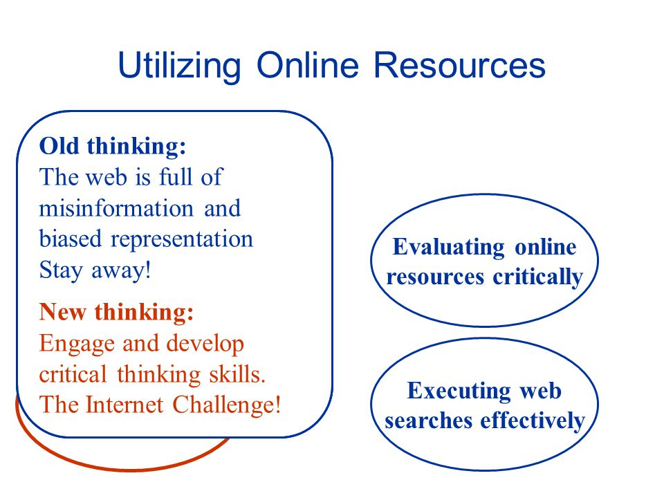 Web Sites and Web Pages Utilizing Online Resources Executing web searches effectively Information for solving problems Evaluating online resources critically Old thinking: The web is full of misinformation and biased representation Stay away.