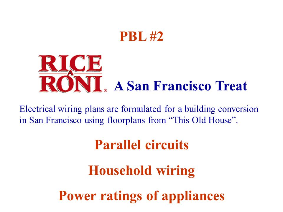 A San Francisco Treat PBL #2 Parallel circuits Household wiring Power ratings of appliances Electrical wiring plans are formulated for a building conversion in San Francisco using floorplans from This Old House .