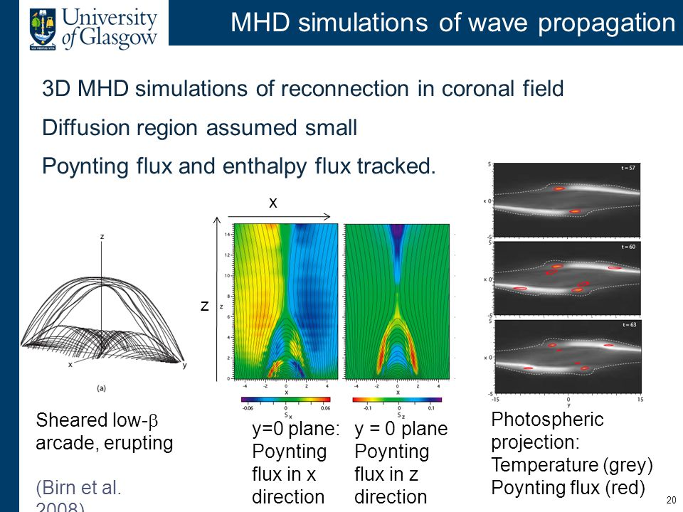 MHD simulations of wave propagation 3D MHD simulations of reconnection in coronal field Diffusion region assumed small Poynting flux and enthalpy flux tracked.