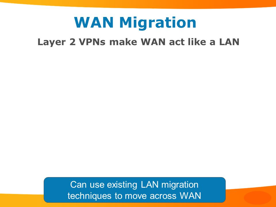 WAN Migration Layer 2 VPNs make WAN act like a LAN Can use existing LAN migration techniques to move across WAN
