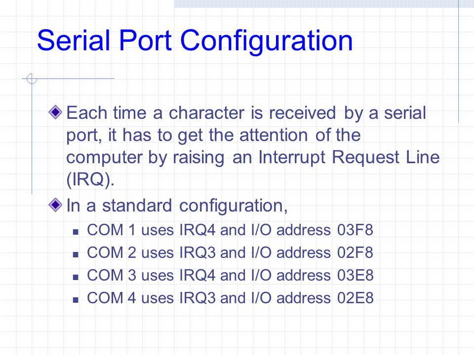 Serial Port Configuration Each time a character is received by a serial port, it has to get the attention of the computer by raising an Interrupt Requ