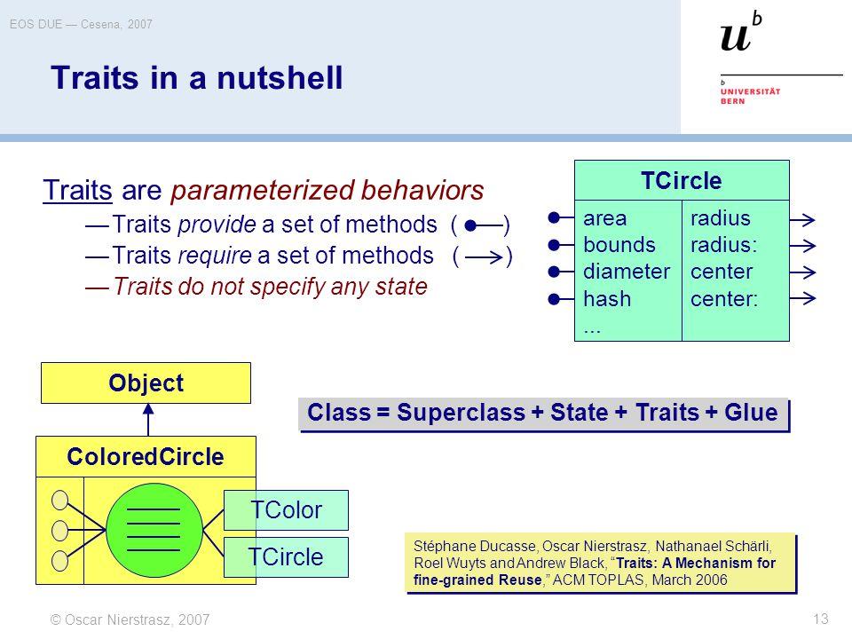 © Oscar Nierstrasz, 2007 EOS DUE — Cesena, 2007 13 Traits in a nutshell Traits are parameterized behaviors —Traits provide a set of methods ( ) —Trait