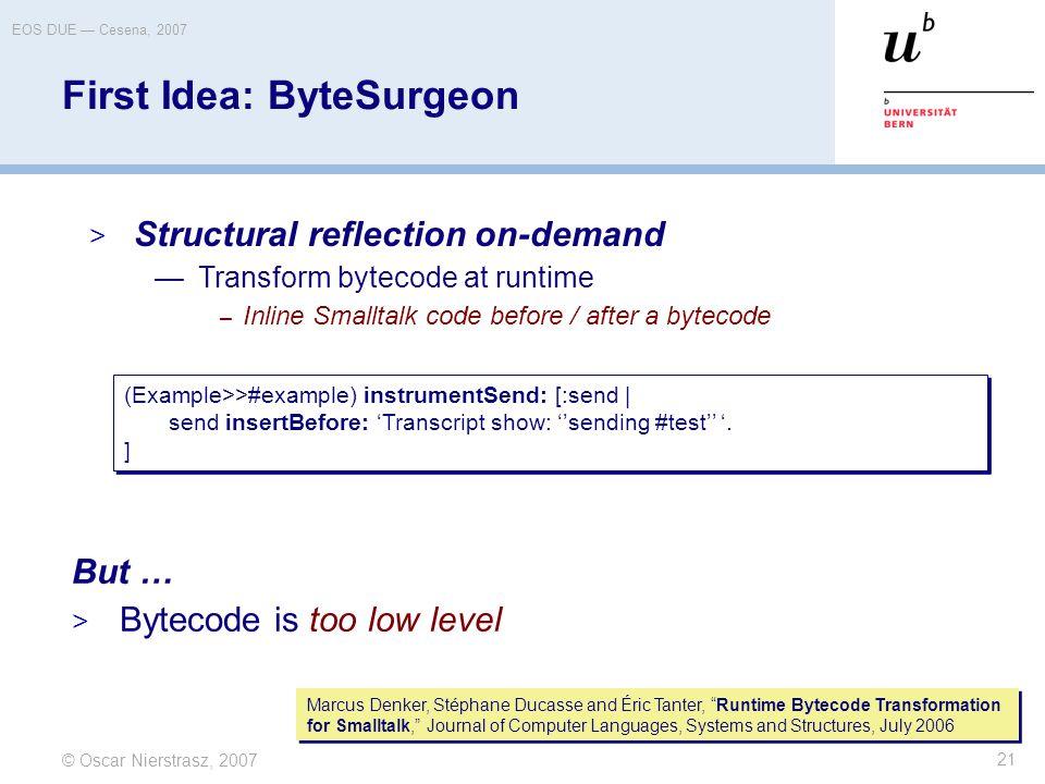 © Oscar Nierstrasz, 2007 EOS DUE — Cesena, 2007 21 First Idea: ByteSurgeon But …  Bytecode is too low level (Example>>#example) instrumentSend: [:sen