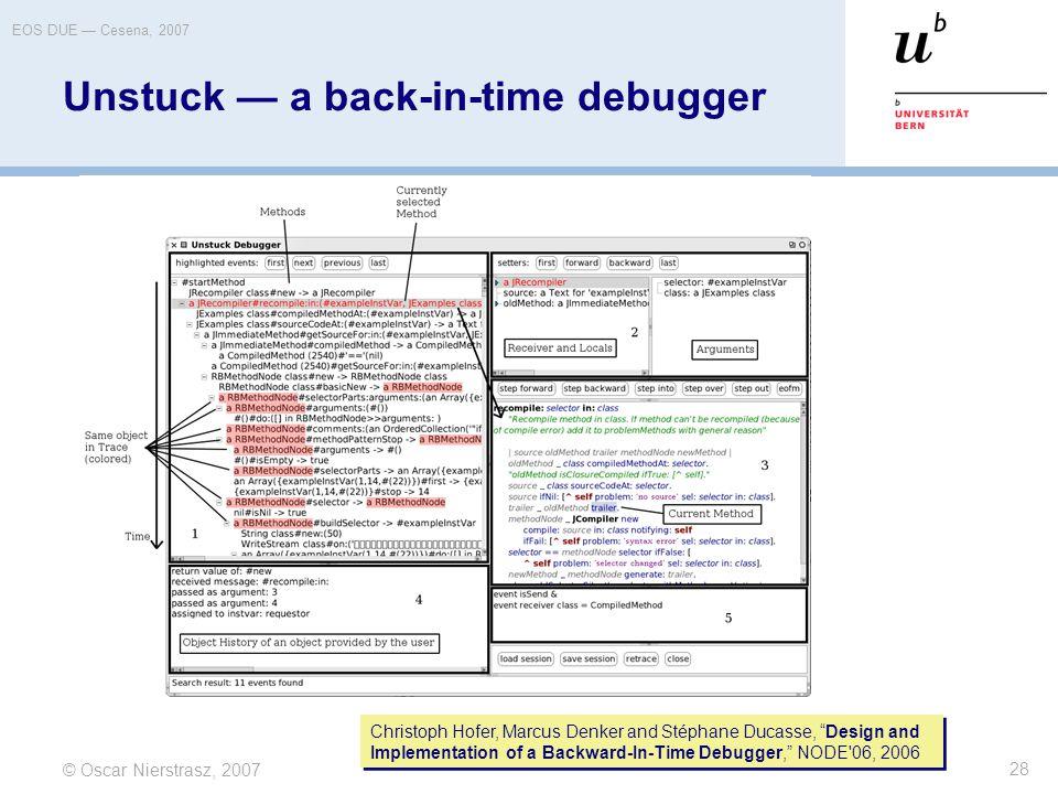 """© Oscar Nierstrasz, 2007 EOS DUE — Cesena, 2007 28 Unstuck — a back-in-time debugger Christoph Hofer, Marcus Denker and Stéphane Ducasse, """"Design and"""