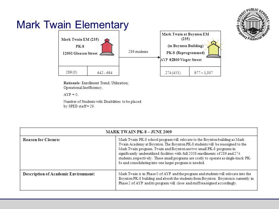 MARK TWAIN PK-8 – JUNE 2009 Reason for Closure: Mark Twain PK-8 school/program will relocate to the Boynton building as Mark Twain Academy at Boynton.