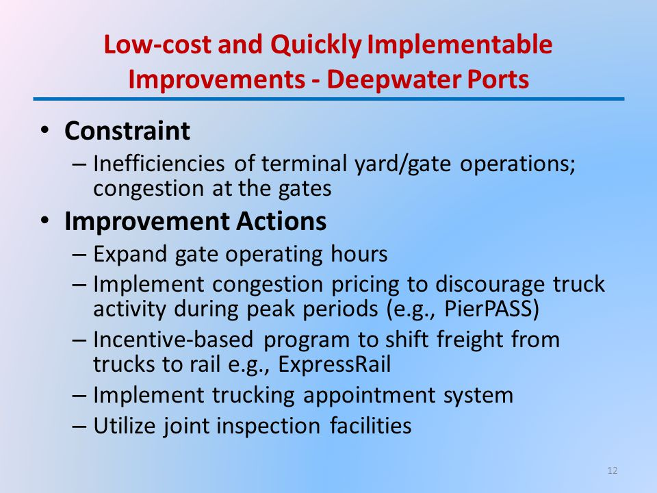 Low-cost and Quickly Implementable Improvements - Deepwater Ports Constraint – Inefficiencies of terminal yard/gate operations; congestion at the gate