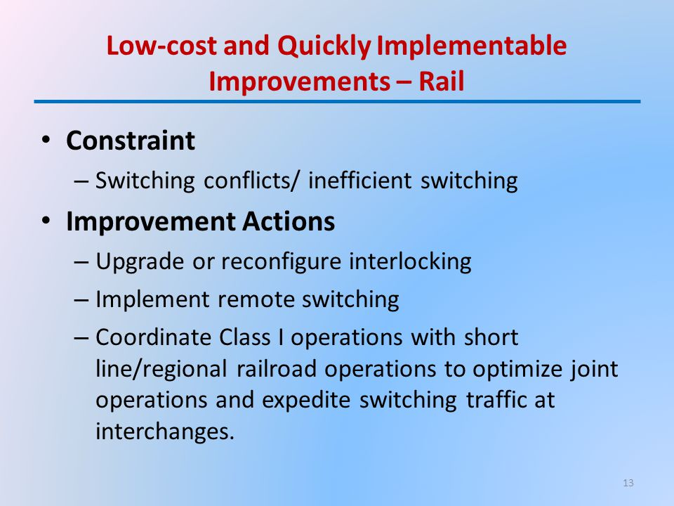 Low-cost and Quickly Implementable Improvements – Rail Constraint – Switching conflicts/ inefficient switching Improvement Actions – Upgrade or reconfigure interlocking – Implement remote switching – Coordinate Class I operations with short line/regional railroad operations to optimize joint operations and expedite switching traffic at interchanges.