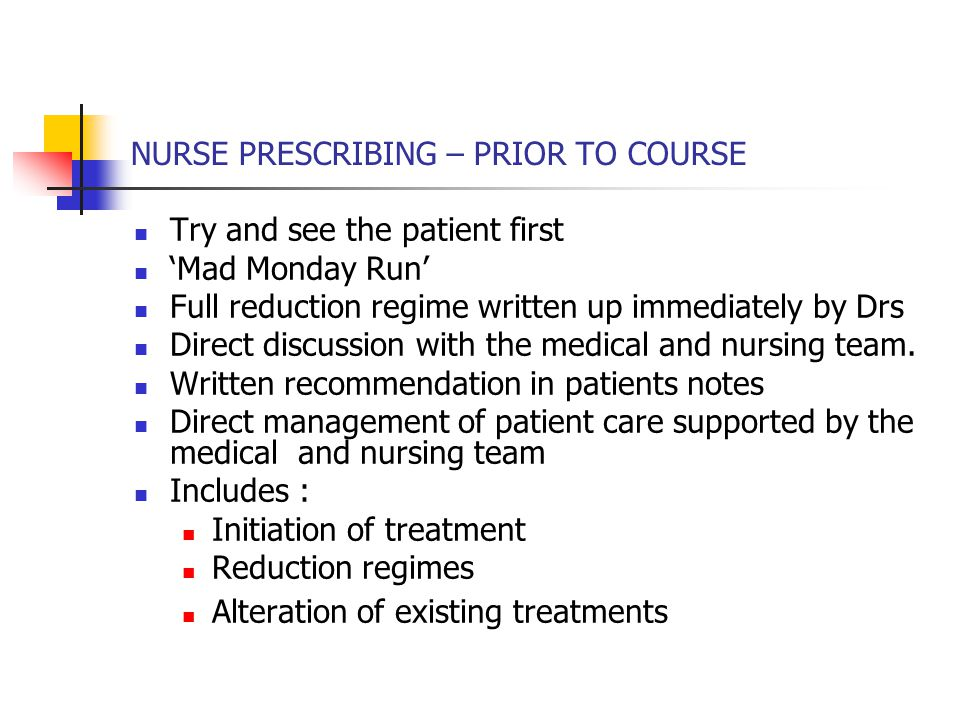 NURSE PRESCRIBING – PRIOR TO COURSE Try and see the patient first 'Mad Monday Run' Full reduction regime written up immediately by Drs Direct discussion with the medical and nursing team.