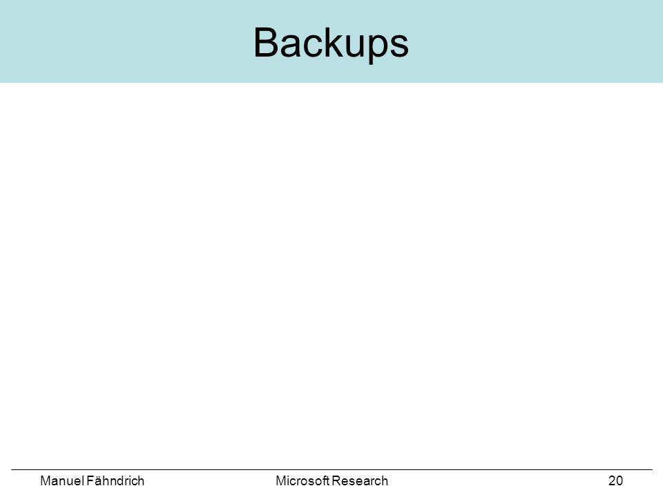 Manuel FähndrichMicrosoft Research20 Backups