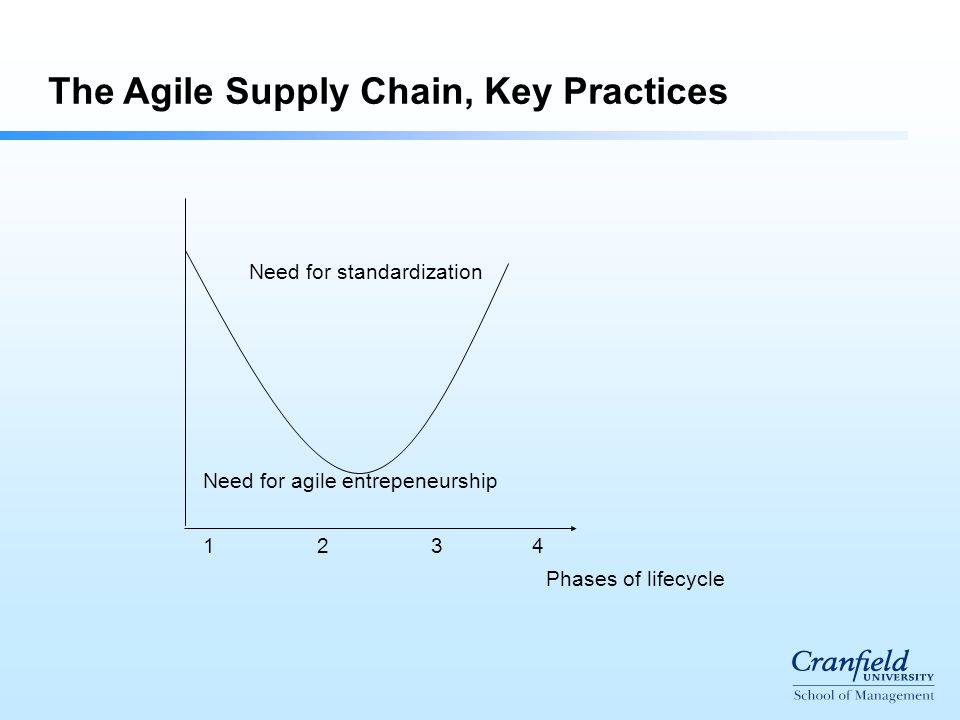 Phases of lifecycle Need for agile entrepeneurship Need for standardization 1 2 3 4