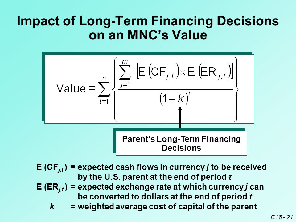 C18 - 21 Impact of Long-Term Financing Decisions on an MNC's Value E (CF j,t )=expected cash flows in currency j to be received by the U.S. parent at