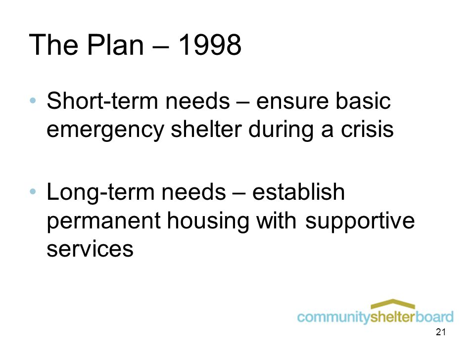 The Plan – 1998 Short-term needs – ensure basic emergency shelter during a crisis Long-term needs – establish permanent housing with supportive services 21