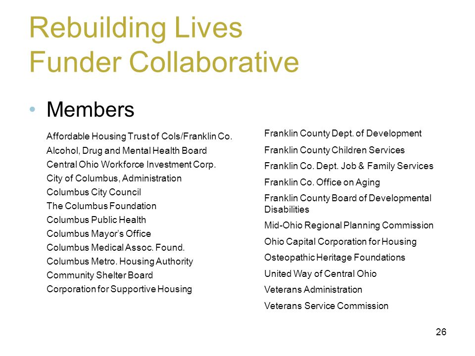 Rebuilding Lives Funder Collaborative Members Affordable Housing Trust of Cols/Franklin Co.