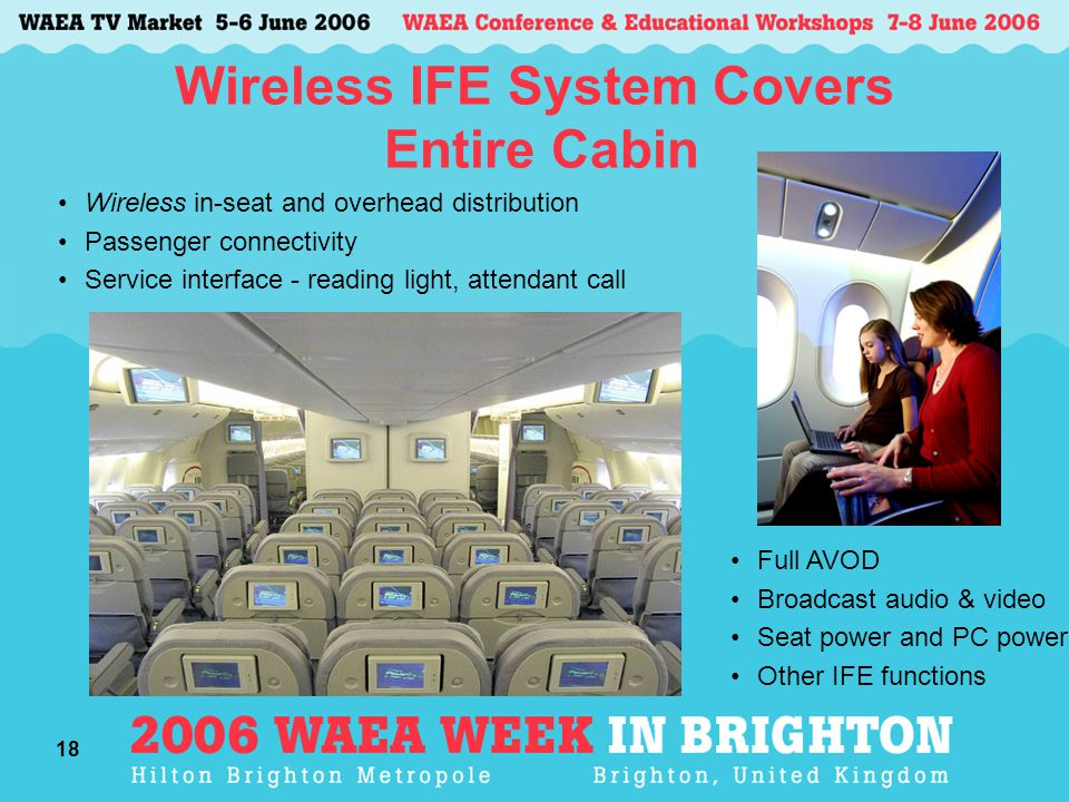 18 Wireless IFE System Covers Entire Cabin Wireless in-seat and overhead distribution Passenger connectivity Service interface - reading light, attendant call Full AVOD Broadcast audio & video Seat power and PC power Other IFE functions