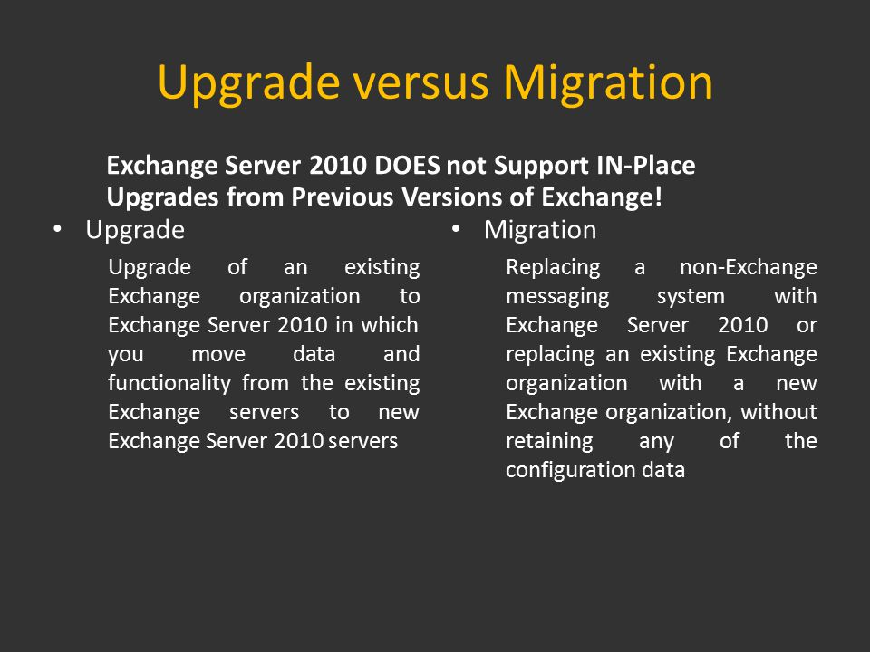 Single Phase versus Multi Phase Replaces existing messaging system Moves required data and functionality to the new system without configuring integration between the two systems Has no period of coexistence or interoperability Upgrades one server or site at a time Enables an incremental upgrade spread over a longer period of time Decreases risk for the organization