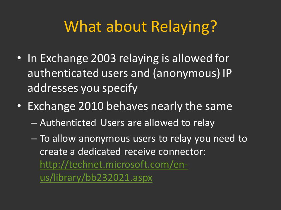 What about Relaying.