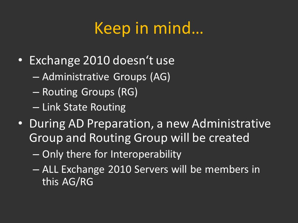In General… All of the following tasks need to – Be run on a x64 machine – Require Windows Powershell 2.0 – Be run on a machine which is in the same site and the same domain as the Schema Master – As always, wait for replication to finish before you start the next step… For detailed information about what happens, visit http://technet.microsoft.com/en- us/library/bb125224.aspxhttp://technet.microsoft.com/en- us/library/bb125224.aspx
