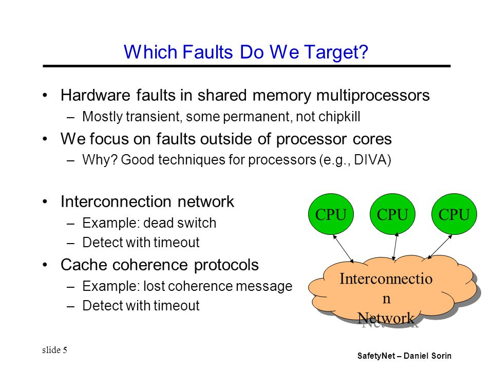 SafetyNet – Daniel Sorin slide 5 Which Faults Do We Target.