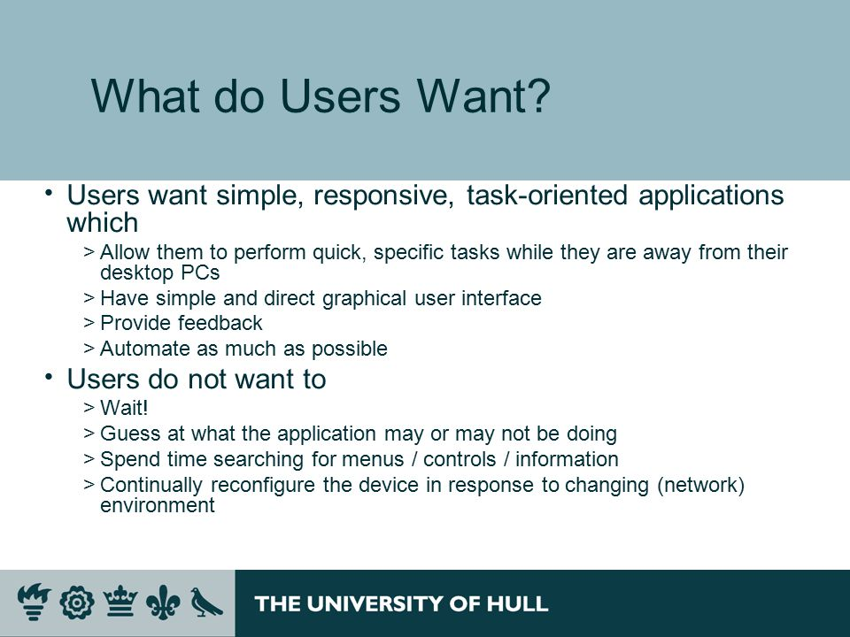 What do Users Want.